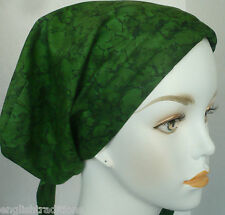 Cancer Chemo Head Scarves Turban Hair Covering Padded Elastic Forest Green Hat