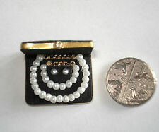 DOLLS HOUSE MINIATURE HANDMADE BOXED 'PEARL' JEWELLERY SET FOR DOLL HOUSE/SHOP