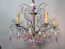 "Vintage Antique Pink Gray Floral Crystal Prism Chandelier Light 19"" by 22"""