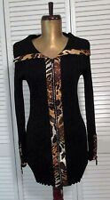 BELLDINI BLACK LEOPARD ANIMAL CRYSTAL BLING ZIP LONG CARDIGAN SWEATER TOP S NWT