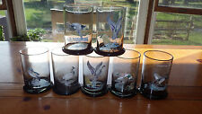 Game Bird Duck TUMBLERS Drinking glasses Smokey Gray Hunting Glasses 8 12oz glas