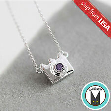 925 Sterling Silver Camera Designer Purple Crystal Necklace Novelty gift Cute