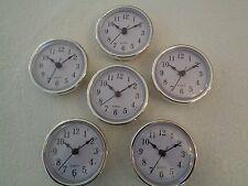 "10 PAK, 2-1/2""(65mm) QUARTZ CLOCK FIT-UP/Insert,Silver Trim,Arabic Numeral,White"