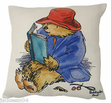 "FILLED EVANS LICHFIELD PADDINGTON BEAR READING MADE IN THE UK CUSHION 17""- 43CM"