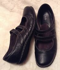 Clarks Bendables Black Pebbled Leather Double Mary Jane Strap Slip On Shoes-8W