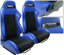 NEW 1 PAIR BLUE PVC LEATHER & BLACK SUEDE ADJUSTABLE RACING SEATS CHEVROLET *