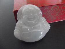Magnifique Pendentif Bouddha Rieur en Jade Vert Clair