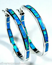 925 Sterling Endless Hoop Earrings with Blue Fire Opal Inlay  1'' wide 27mm