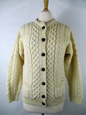 Carraig Donn XS Cable Knit Irish Fisherman Cardigan Sweater Ivory Ireland Womens