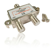 "2 WAY SPLITTER CAVO COASSIALE ""F"" CONNETTORE FEMMINA TV digitale via satellite cavo Virgin Media"