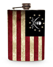 Pirate Flag Flask 8oz Silver Metal Drinking Hip Liquor Alcohol Flasks American
