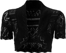 Women Crochet Knitted Short Sleeve Ladies Bolero Cardigan Top Shrug 8 10 12