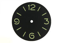 37.5mm Black Watch Dial Green markers fit Asian 6497 Movement Luminous 072