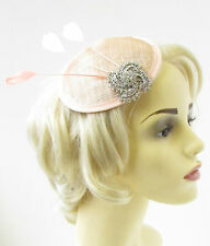 Blush Pink Coral Silver Feather Fascinator Wedding Races Hair Clip Hat Vtg 971