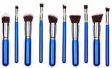 10PCS Cosmetic Blending Eyeshadow Foundation Concealer Brushes Blue-Silver USA