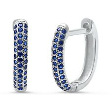 Blue Sapphire Huggie Hoop .925 Sterling Silver Earrings