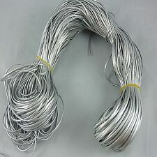 3m Solid Faux Leather Cord PU Thread Wire Jewelry Bracelet Making 3MM silver K32