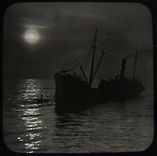 Glass Magic Lantern Slide STEAMER IN THE MOONLIGHT C1900 PHOTO STEAMSHIP