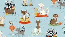 "Crafty CATS on Light Blue Cotton fabric Makower Size 22"" x18"" larger available"