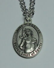 "NEW St Sebastian Holy Medal on 24"" Steel Chain Patron Saint of Sports - Football"