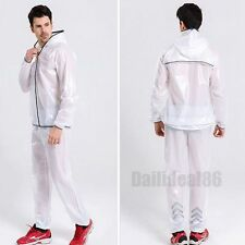 Shiny wet look glanz pvc nylon track suit sport mens XL jacket pants see through