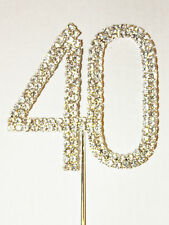 Number 40, Large Diamante Cake Topper. Birthday, Ruby Anniversary Cakes