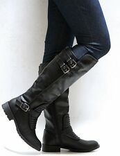 New Women FLiv Brown Black Quilted Riding Knee High Biker Boots 5.5 to 10