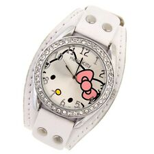 Reloj HELLO KITTY  watch Correa blanca ancha con remaches A1115
