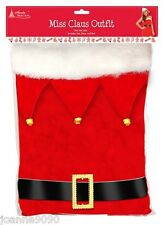 LADIES SEXY MISS SANTA CLAUS CHRISTMAS FANCY DRESS COSTUME HAT AND BELT 10 - 16