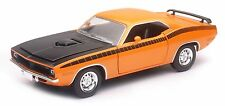 "NewRay 1970 Plymouth Cuda 1:24 scale 8"" diecast model car Orange N81"