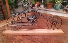 "Vintage Wire Motorcycle Sculpture on Wood Base Sculpture is 12"" Long"