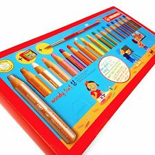STABILO WOODY 3 in 1 JUMBO PENCILS SET (18) + SHARPENER & PAINT BRUSH