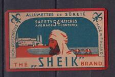 Ancienne  étiquette allumettes Finlande  Sheik  3  Average 54