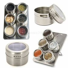 7in1 Magnetic Spice Jar Set Rack Holder Seasonings Containers Condiments Storage