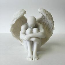 Male Nude Winged Angel Holding Knees Sculpture Statue Figureine