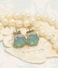 Mint Green Earrings, 8mm STUD PACIFIC OPAL EARRINGS,  made w/ Swarovski Crystals
