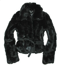 Giacca Pelliccia Nera Vero Lapin Rabbit Fur Made in Italy cintura pelle XL 46 it