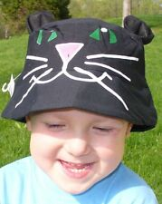 NEW Novelty Halloween BLACK CAT Bucket Sun Hat Boy Girl Sunhat Costume Green eye