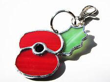 Handmade Stained Glass British Legion Style Poppy - Keyring or Handbag Accessory
