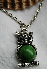 Tibetan silver necklace lovely cute owl pendant green bead retro vintage style