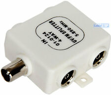 4 WAY COAX TV AERIAL SPLITTER ADAPTER UHF/VHF/FM WHITE