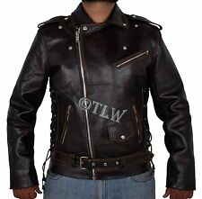 CLASSIC VINTAGE Men Brando Biker Distressed Leather Jacket Ghost Rider COW HIDE