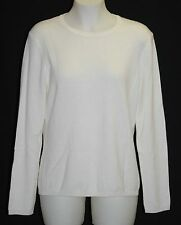 CHARTER CLUB 100% 2-Ply Cashmere Ivory Crew-Neck Sweater XL $129 NWT