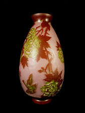 BEAUTIFUL SIGNED GALLE REPRODUCTION ETCHED & CASED FLORAL & BIRD GLASS VASE