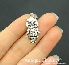 16pcs Owl Charm Antique Silver Charm Necklace Pendant SC647