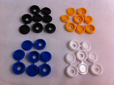 16 Pack Plastic Nylon Hinged Screw Cover Caps Flip Tops White Black Yellow Blue