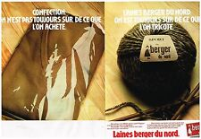 Publicité Advertising 1977 (2 pages) Les laines Berger du Nord