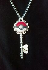 Antique Silver Key Pendant Necklace Keyring Key Ring Pokemon Nintendo Pokeball