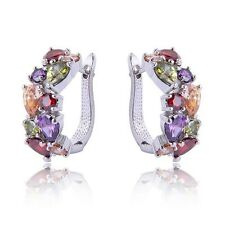Jewelry Fashion 925 silver Charm Multicolor zircon hoop earrings Ear Studs wh546