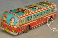 Vintage Wind Up BTI - 1981 Olympic Coach Litho Passenger Bus Tin Toy